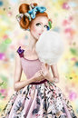 Doll face photo art the girl with cotton candy technique Royalty Free Stock Photos