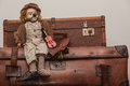 Doll Fiddler Suitcases Toy Stock Photography