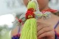 Doll handmade thread motanka bokeh Royalty Free Stock Photos