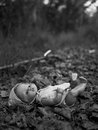Doll lost in the forest Royalty Free Stock Photos