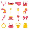 Doll princess items icons set in flat style