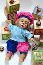 Doll and wooden blocks Royalty Free Stock Photo