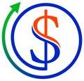 Dollar with arrow Stock Photo