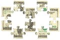Dollar bank note money puzzle banks Stock Photos