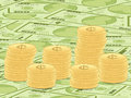 Dollar banknotes and coins background Royalty Free Stock Photography
