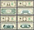 Dollar banknotes, us currency money bills vector set. Royalty Free Stock Photo