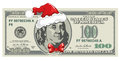 Dollar bill for Christmas Stock Photo