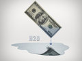 Dollar bill drips water fresh Royalty Free Stock Photo