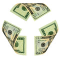Dollar bill recycle sign Photographie stock