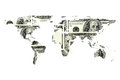 Dollar bill and world map Royalty Free Stock Photo