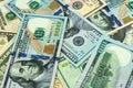 Dollar bills of different denominations. Background