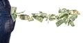 Dollar bills falling out of pocket Royalty Free Stock Photo