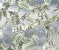 Dollar bills flying Royalty Free Stock Photo