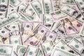 Dollar bills on the full frame different Stock Photo