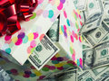 Dollar bills gift box full of Royalty Free Stock Photos