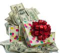 Dollar bills gift box full of isolated on white Royalty Free Stock Image