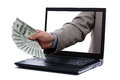 Dollar bills through a laptop screen holding one hundred concept for internet e commerce paying and electronic banking Royalty Free Stock Photo
