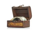 Dollar bills in the old wooden treasure chest see my other works portfolio Stock Images