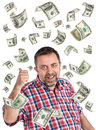 Dollar bills rain happy businessman and a of Stock Images