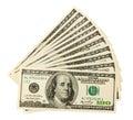 Dollar bills U.S. on white background Royalty Free Stock Photography