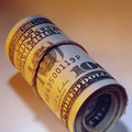 Dollar bills wad of cash a banknotes Stock Images