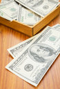 Dollar bills with wooden box a Royalty Free Stock Images