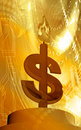 Dollar and candle fire Stock Photography