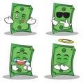 Dollar character cartoon style of set