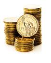 Dollar coin and gold money Royalty Free Stock Photo