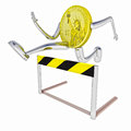 Dollar coin  jumping above hurdle front view Stock Photo
