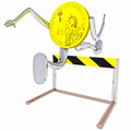 Dollar coin robot jumping above hurdle rendering illustration Stock Photo