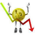 Dollar coin robot with negative graph report illustration rendering Royalty Free Stock Images