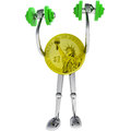 Dollar coin strong robot holding illustration Royalty Free Stock Photos