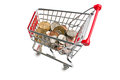 Dollar coins in shopping cart on white background Royalty Free Stock Image