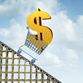 Dollar currency decline financial concept as a three dimensional american money icon in a shopping cart going down a roller Stock Images