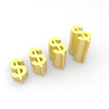 Dollar currency growth in gold color Stock Photography