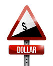 dollar currency price falling warning sign Royalty Free Stock Photo
