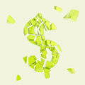 Dollar currency symbol broken into tiny pieces isolated collapse metaphor as usd green plastic glossy Stock Image