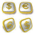 Dollar and eur d metalic square symbol button d icon design series Royalty Free Stock Photos