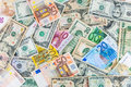 Dollar and euro backgound background made of banknotes Stock Photo