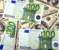 Dollar and euro banknote Royalty Free Stock Photo
