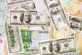 Dollar and euro banknotes, abstract background Stock Photo