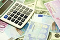 Dollar, euro banknotes, calculator Royalty Free Stock Image