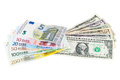 Dollar and euro banknotes on white background isolated with clipping path Royalty Free Stock Images