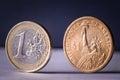 Dollar euro coins Royalty Free Stock Photo