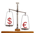 Dollar euro currency scale with the symbols balanced on a pan showing the strength of the relative to the on Royalty Free Stock Photos