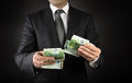 Dollar in,  Euro out Royalty Free Stock Photo