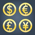 Dollar euro pound and yen gold signs collection vector set of currency icons for banking business realistic icons eps Royalty Free Stock Photos