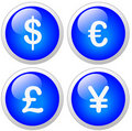 Dollar Euro Pound Yen Icon Button Stock Photography