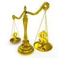 Dollar and euro signs on a scales. Royalty Free Stock Image
